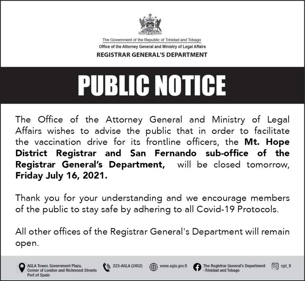 District Registrar and Sub-Office Closure
